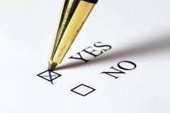 SÌ di voto Fotografia Stock