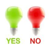 Sì e nessun come lampadine hanno isolato Fotografie Stock Libere da Diritti