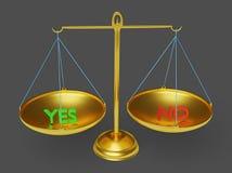 Sì e nessun testo nella rappresentazione della scala 3d dell'equilibrio royalty illustrazione gratis
