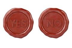 Sì e nessuna guarnizione rossa della cera illustrazione 3D Fotografie Stock Libere da Diritti