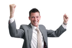 Sì! la giovane, rappresentazione bella dell'uomo d'affari excitemen Immagini Stock