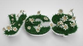 Sì lettere Primavera, fiori ed erba Percorso Fotografia Stock