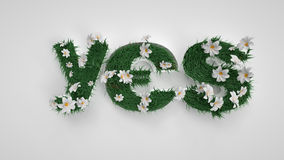 Sì lettere Primavera, fiori ed erba Percorso Immagini Stock
