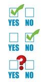 Sì lista di controllo di no e punto interrogativo Fotografia Stock