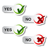 Sì nessun bottone - simbolo del segno di spunta Fotografie Stock