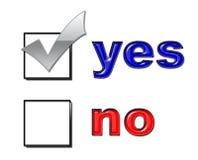 Sì nessun voto fotografia stock