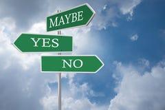 Sì o nessun segnali stradali Fotografia Stock Libera da Diritti