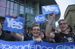 Sì riferimento di Indy dello Scottish dei sostenitori di campagna Immagine Stock