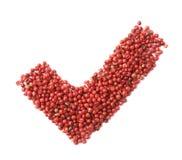 Sì segno di spunta fatto dei semi del pepe Immagini Stock