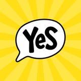 Sì testo di parola su forma di conversazione Fumetto dell'illustrazione di vettore illustrazione di stock