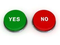 Sí botones de no Foto de archivo