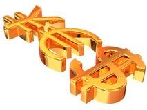 SÍ de las muestras Yenes, dólar y euro Imagen de archivo libre de regalías