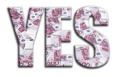 sí La inscripción tiene una textura de la fotografía, que representa muchas 500 cuentas de dinero euro stock de ilustración