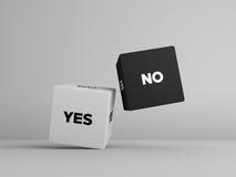 Sí ningunos cubos de los dados en color blanco y negro fotos de archivo libres de regalías
