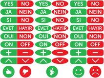 Sí, ningunos y otros botones. ilustración del vector