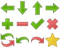Sí, no, conjunto de símbolos de las flechas Imagen de archivo libre de regalías