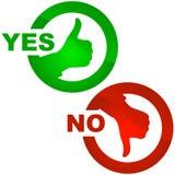 Sí y ningún icono. Imagen de archivo libre de regalías