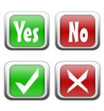 Sí y ningunos botones Imágenes de archivo libres de regalías