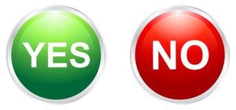 Sí y ningunos botones Foto de archivo libre de regalías