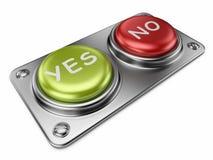 Sí y ningunos botones 3D. Concepto bien escogido Fotos de archivo libres de regalías