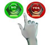 Sí y ningunos botones fijados Foto de archivo