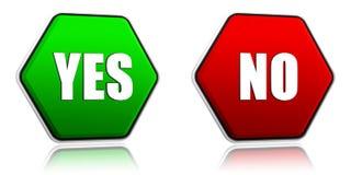 Sí y no en botones del hexágono Imagen de archivo libre de regalías