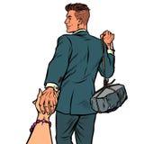 Sígame hombre de negocios con un aislante de piedra en el fondo blanco ilustración del vector