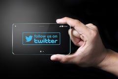 Síganos en el icono de Twitter Fotografía de archivo libre de regalías