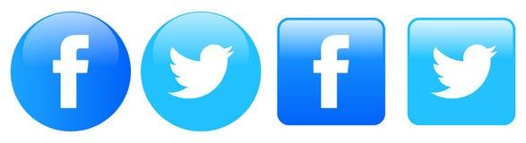 Síganos en iconos del gorjeo del facebook stock de ilustración