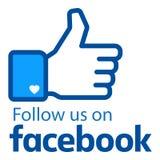 Síganos en logotipo del facebook ilustración del vector