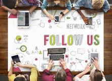 Síganos que la red social conecta medios concepto social imagen de archivo libre de regalías
