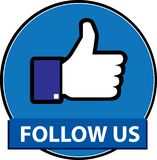 Síganos vector del botón del facebook stock de ilustración