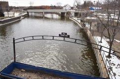 Sílex, Michigan: Flint River Fotografia de Stock