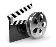 Símbolo 3d dos filmes da placa da película e do aplauso. Foto de Stock Royalty Free
