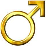 símbolo 3D masculino dourado Fotografia de Stock Royalty Free
