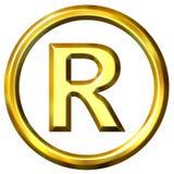 símbolo 3D registado dourado Imagens de Stock