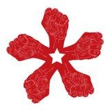 Símbolo abstracto de cinco puños, tema de la revolución Fotos de archivo libres de regalías