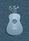 Símbolo abstracto de la guitarra y de paz con el fondo de las notas Imagenes de archivo