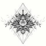 Símbolo abstracto del garabato del zen del enredo del zen en el estilo de Boho para el negro del tatuaje en blanco ilustración del vector