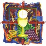 Símbolo abstracto moderno de la eucaristía de la témpera de la acuarela del pan