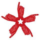 Símbolo abstrato apontando de cinco mãos com a estrela pentagonal, preta Foto de Stock