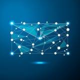Símbolo abstrato do email sob a forma de um céu ou de um espaço estrelado, consistindo em pontos, em linhas, e em formas sob a fo Fotografia de Stock