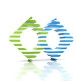 Símbolo abstrato do negócio da cor com 2 elementos Foto de Stock Royalty Free