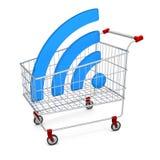 Símbolo abstrato Wi-Fi da imagem no carrinho de compras Foto de Stock Royalty Free
