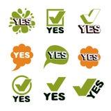 Símbolo ajustado correto do sinal verde, amarelo O vetor verifica sim o si Imagem de Stock Royalty Free