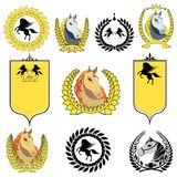 Símbolo ajustado dos ícones do cavalo do vetor Foto de Stock Royalty Free