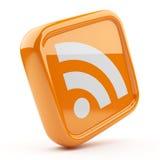 Símbolo alaranjado 3D de RSS. Ícone no fundo branco Fotos de Stock Royalty Free