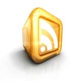 Símbolo alaranjado de vidro do ícone do RSS 3d Fotos de Stock