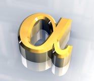 Símbolo alfa no ouro (3d) ilustração stock