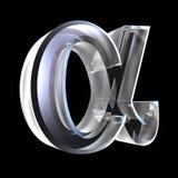 Símbolo alfa no vidro (3d) ilustração royalty free